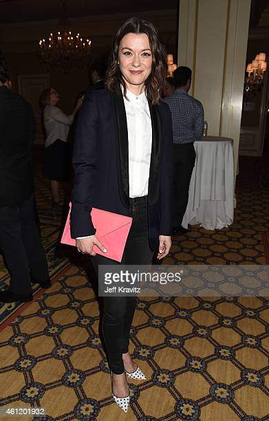 Actress Maribeth Monroe waits in the lobby after 'The Brink' panel as part of the 2015 HBO Winter Television Critics Association press tour at the...