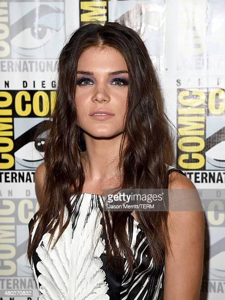 Actress Marie Avgeropoulos attends the The 100 press room during ComicCon International 2015 at the Hilton Bayfront on July 10 2015 in San Diego...