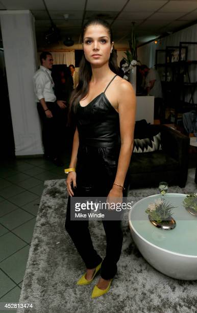 Actress Marie Avgeropoulos in the green room at the 2014 Young Hollywood Awards brought to you by Samsung Galaxy at The Wiltern on July 27 2014 in...