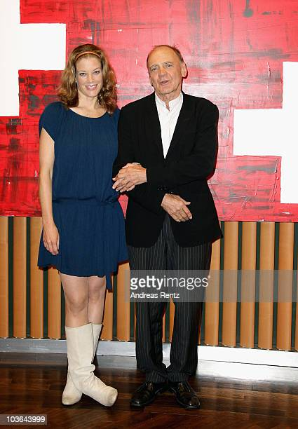 Actress Marie Baeumer and actor Bruno Ganz attend a photocall to promote the movie 'Der Grosse Kater' at Swissotel on August 26 2010 in Berlin Germany