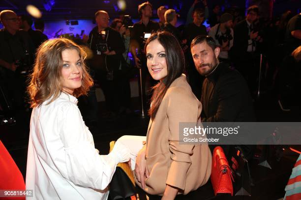 Actress Marie Baeumer and Actress Bettina Zimmermann and Actor Clemens Schick during the Marc Cain Fashion Show Berlin Autumn/Winter 2018 at metro...