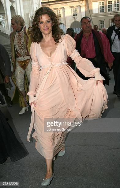 "Actress Marie Baeumer leaves the stage after the premiere of ""Jedermann"" on July 28, 2007 in Salzburg, Austria."