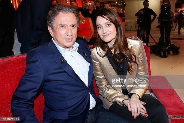 Actress Marie Gillain and presenter of the show Michel Drucker attend the 'Vivement Dimanche' French TV Show at Pavillon Gabriel on January 21 2015...