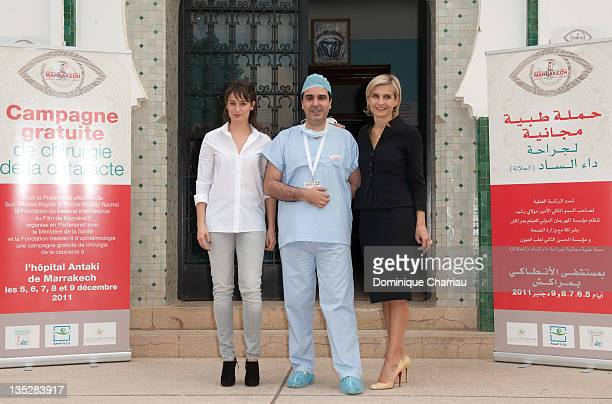 Actress Marie Gillain visits the Department of Ophthalmology at Marrakech Hospital accompanied by Dr Omar Berbich and Melita Toscan du Plantier on...