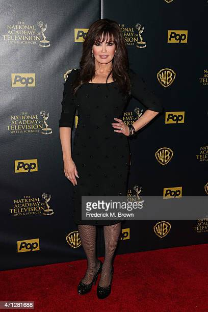 Actress Marie Osmond poses in the press room during The 42nd Annual Daytime Emmy Awards at Warner Bros Studios on April 26 2015 in Burbank California