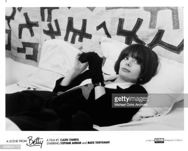 Actress Marie Trintignant on set of the movie Betty circa 1993