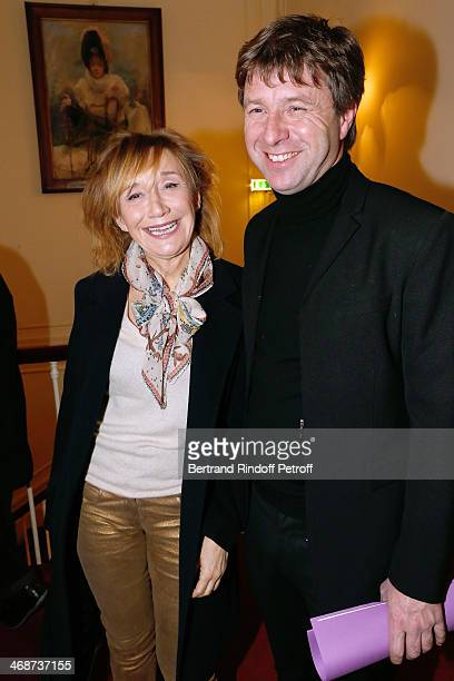 Actress MarieAnne Chazel and Coowner of the Theater Richard Caillat attend the 'Salle Rejane' Opening party in 'Theatre de Paris' on February 11 2014...