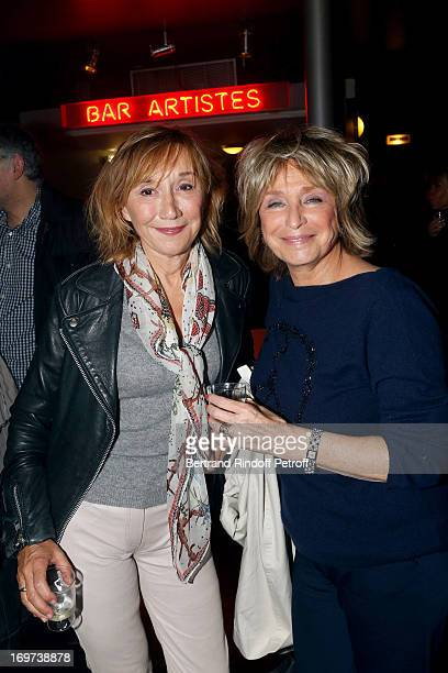 Actress MarieAnne Chazel and Director Daniele Thompson backstage after Patrick Bruel's concert at Zenith de Paris on May 30 2013 in Paris France