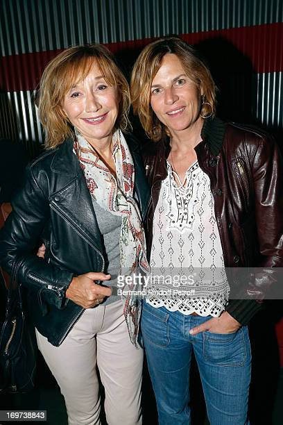 Actress MarieAnne Chazel and Virginie CouperieEiffel backstage after Patrick Bruel's concert at Zenith de Paris on May 30 2013 in Paris France