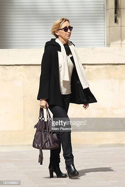 Actress MarieAnne Chazel arrives to attend actor Pierre Mondy's funeral at Eglise SaintHonored'Eylau on September 20 2012 in Paris France