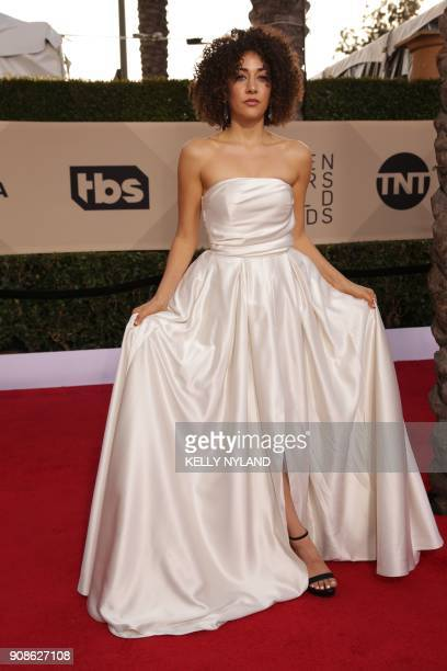 Actress Marielle Scott arrives for the 24th Annual Screen Actors Guild Awards at the Shrine Exposition Center on January 21 in Los Angeles California...