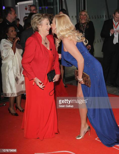 Actress MarieLuise Marjan and actress Jenny ElversElbertzhagen attends the 'Ein Herz Fuer Kinder' charity gala at Axel Springer Haus on December 18...