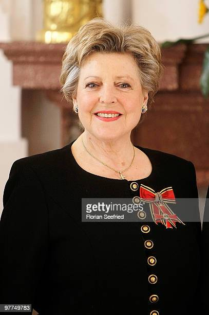 Actress MarieLuise Marjan smiles after she received the Federal Cross Of Merit from German President Horst Koehler at Bellevue Castle on March 16...