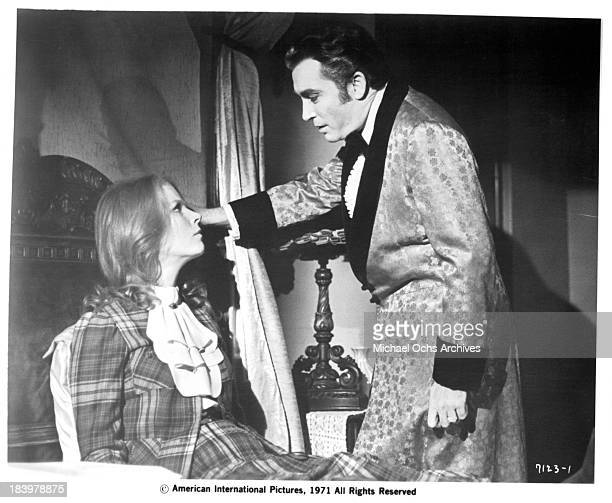 Actress Mariette Hartley and actor Robert Quarry on set of the movie The Return of Count Yorga