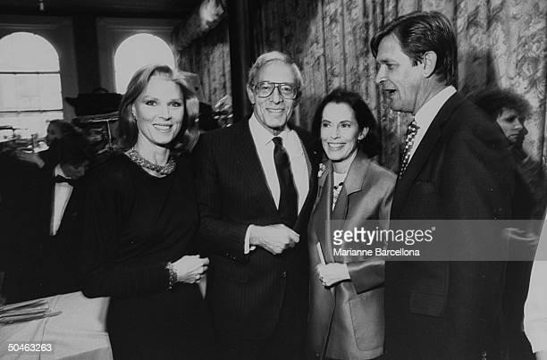 actress Mariette Hartley designer John Weitz w his wife/actress Susan Kohner Hartley's husband/producer Patrick Boyriven posing together at the...