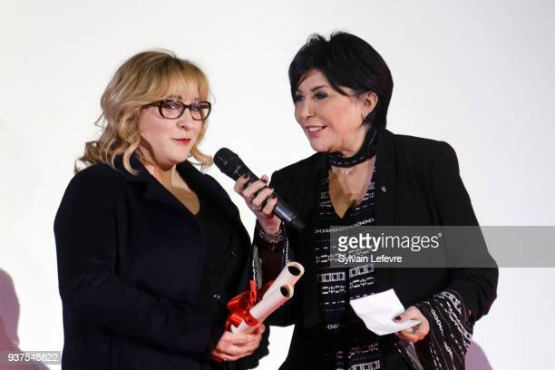 Actress Marilou Berry and singer Liane Foly attend the closing ceremony of Valenciennes Film Festival on March 24 2018 in Valenciennes France