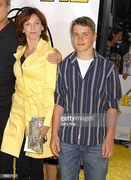 Actress Marilu Henner and son arrive at The Simpsons Movie premiere at the Mann Village Theatre on July 24 2007 in Westwood California