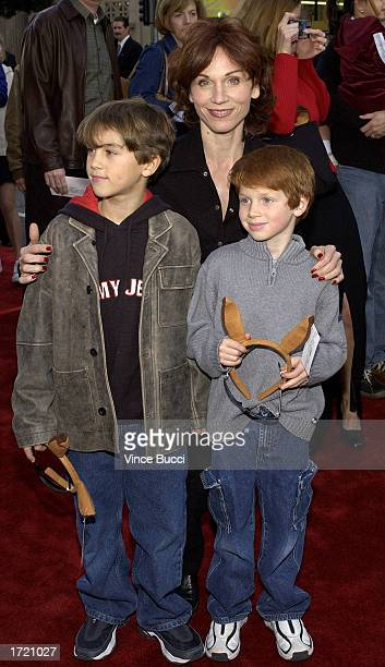 Actress Marilu Henner and sons Nick and Joe attend the premiere of the film Kangaroo Jack at Grauman's Chinese Theatre on January 11 2003 in...