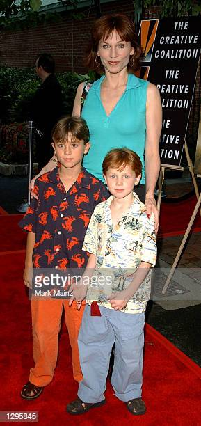 Actress Marilu Henner arrives with her sons Nicholas and Joseph for the DVD launch of Lord of the Rings The Fellowship of the Ring on August 5 2002...