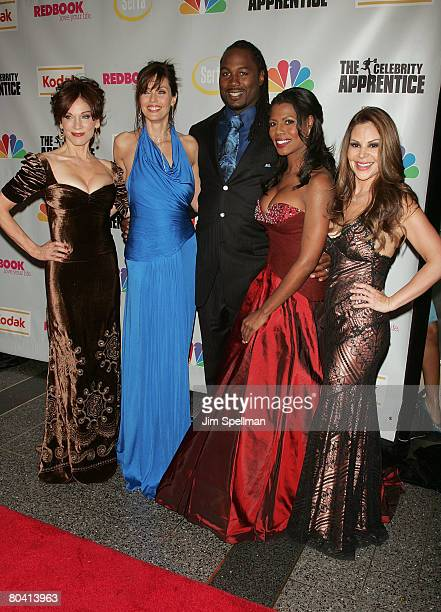 Actress Marilu Henner Model Carol Alt Boxer Lennox Lewis Omarosa Manigault Stallworth and Nely Galn attend The Celebrity Apprentice Finale at Rock...