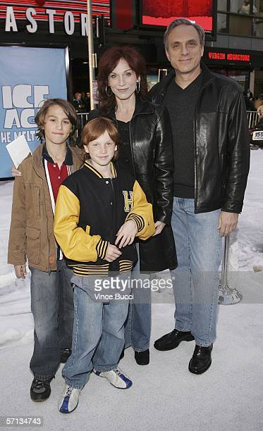 Actress Marilu Henner poses with her sons Joey and Nicky and friend Michael Brown at the world premiere of the Twentieth Century Fox film Ice Age The...