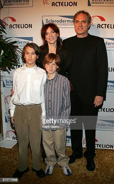 Actress Marilu Henner poses with her sons Joey and Nicky and friend Michael Brown arrives at the 16th Cool Comedy Hot Cuisine benefiting Scleroderma...