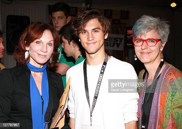 Actress Marilu Henner son filmmaker Nick Lieberman and Harvard Westlake teacher attend the Future Filmmakers Luncheon during the 2011 Los Angeles...