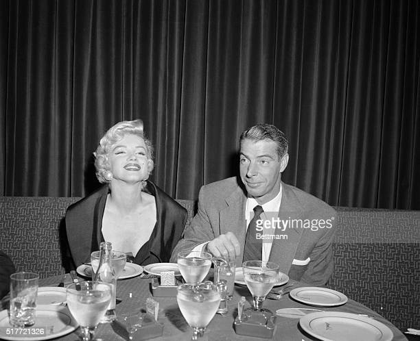 Actress Marilyn Monroe and her husband Joe DiMaggio are show at El Morocco having dinner together this evening. Marilyn came to New York to shoot a...