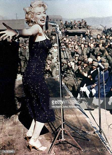 Actress Marilyn Monroe entertains the American troops during a USO tour in 1954 in Korea