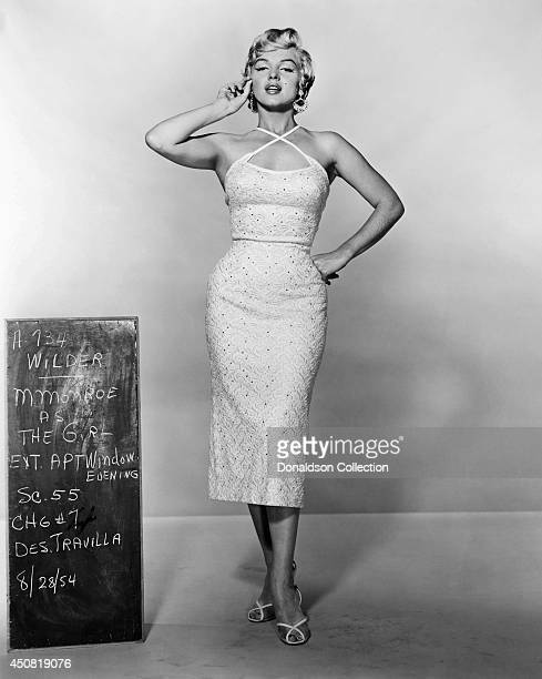 Actress Marilyn Monroe poses for a costume test for the film 'The Seven Year Itch' in August 1954 in Los Angeles, California.