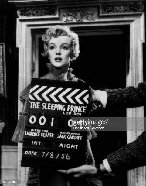 Actress Marilyn Monroe poses for a publicity still for the 20th CenturyFox film 'The Prince and the Showgirl ' on August 7 1956 at Pinewood Studios...