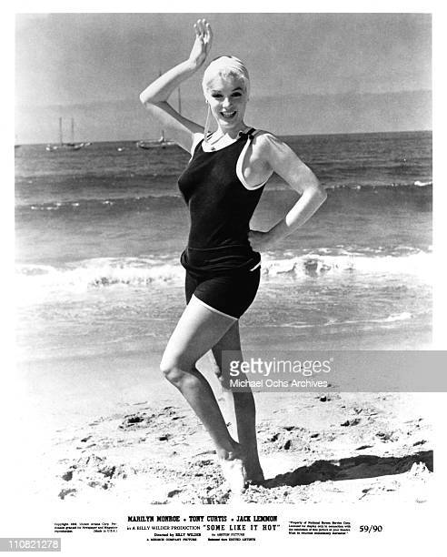 Actress Marilyn Monroe poses for a publicity still on the beach for the United Artists movie 'Some Like It Hot' in 1959 in Coronado California
