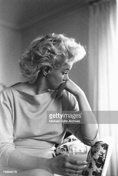 Actress Marilyn Monroe relaxes in a quiet moment at the Ambassador Hotel in March 1955 in New York City New York