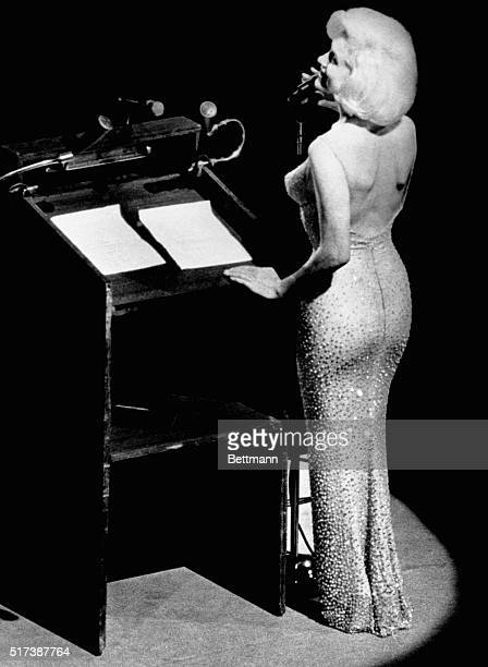 Actress Marilyn Monroe sings Happy Birthday to President John F Kennedy at Madison Square Garden for his upcoming 45th birthday