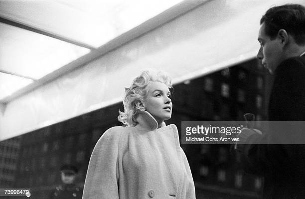 Actress Marilyn Monroe takes the subway in Grand Central Station on March 24 1955 in New York City New York