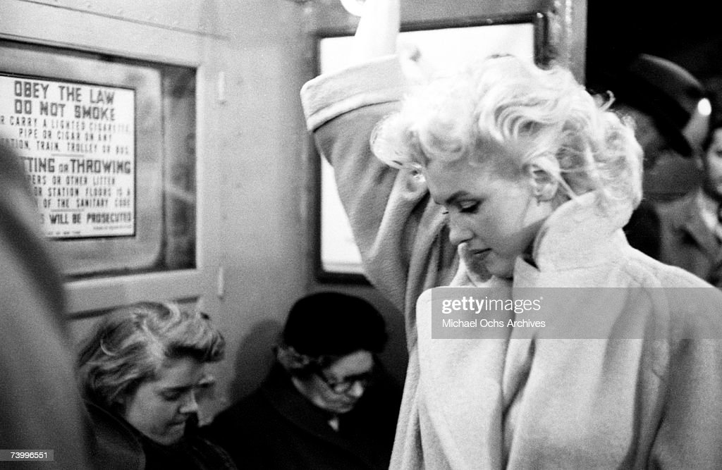 Actress Marilyn Monroe takes the subway in Grand Central Station on March 24, 1955 in New York City, New York.