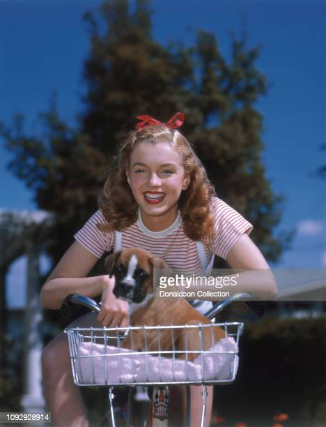 Actress Marilyn Monroe then known as Norma Jeane Mortenson poses for a portrait in 1946 in Los Angeles California