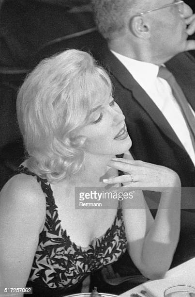 Actress Marilyn Monroe who arrived in Los Angeles late Sept 18th to attend luncheon for Soviet Premier Nikita Khrushchev at 20th Century Fox Studios...