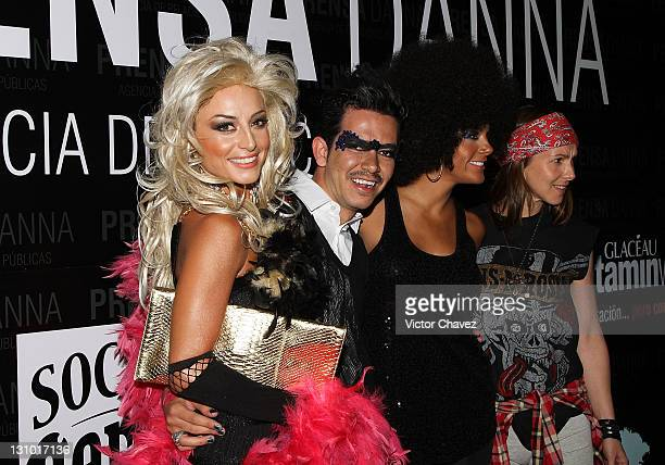 Actress Marimar Vega director Manolo Caro Rossana Najera and Cecilia Ponce attend the Danna Press anniversary party at Gretta on October 28 2011 in...