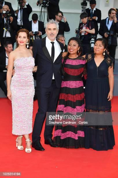 Actress Marina de Tavira, director Alfonso Cuaron, actress Yalitza Aparicio and actress Nancy Garcia walks the red carpet ahead of the 'Roma'...
