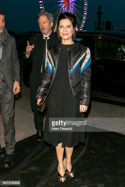 Actress Marina Fois arrives to attend the 'Madame Figaro' dinner at Automobile Club de France on April 5 2018 in Paris France