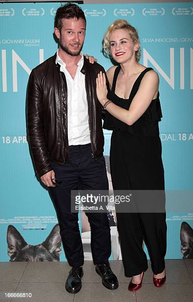 Actress Marina Rocco and fiance Paolo Stella attend 'Nina' premiere at Cinema Barberini on April 15 2013 in Rome Italy