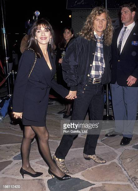 Actress Marina Sirtis and actor Michael Lamper attending the screening of 'Falling Down' on February 22 1993 at Mann Village Theater in Westwood...