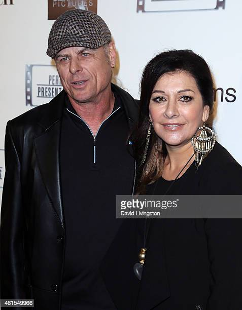 Actress Marina Sirtis and husband Michael Lamper attend the premiere of Match at the Laemmle Music Hall on January 14 2015 in Beverly Hills California