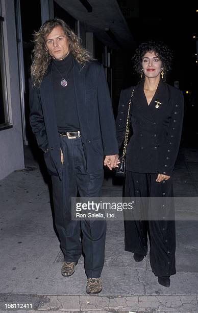 Actress Marina Sirtis and husband Michael Lamper attending the premiere of 'Indochine' on November 9 1992 at the Royal Theater in Los Angeles...