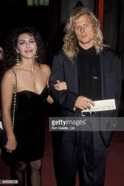 Actress Marina Sirtis and husband Michael Lamper attending the premeire of Sibling Rivalry on October 24 1990 at Mann Chinese Theater in Hollywood...