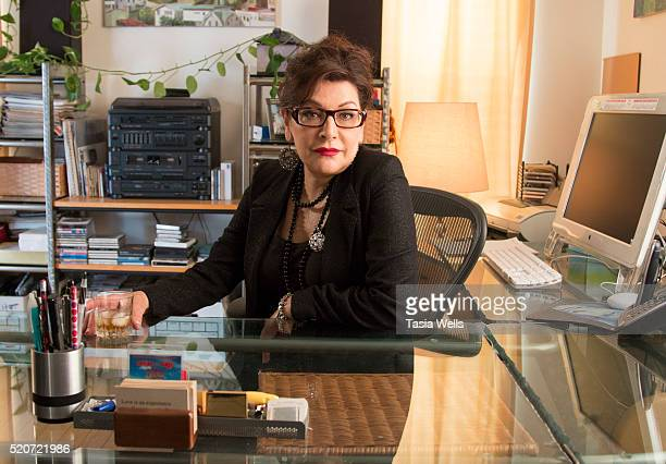 "Actress Marina Sirtis on set at ""For The Love Of George "" in Los Angeles, CA on April 12, 2016 in Los Angeles, California."
