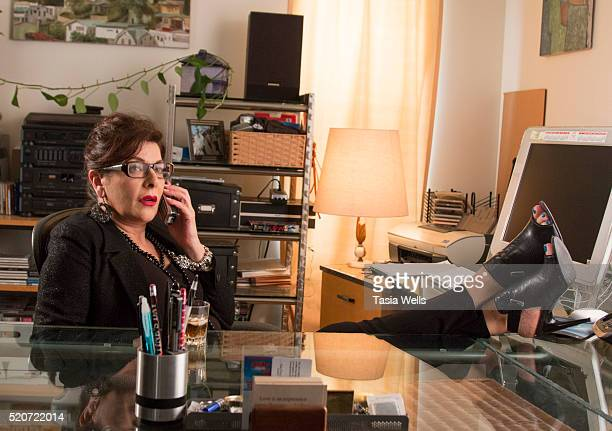 Actress Marina Sirtis on set at For The Love Of George in Los Angeles CA on April 12 2016 in Los Angeles California