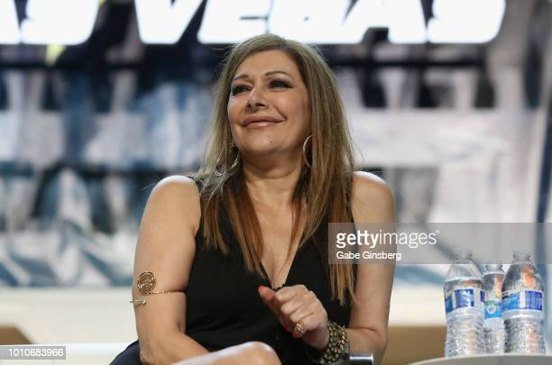 "Actress Marina Sirtis speaks at the ""TNG - Part 2"" panel during the 17th annual official Star Trek convention at the Rio Hotel & Casino on August 3,..."