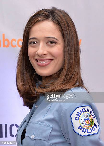 Actress Marina Squerciati attends a press junket for NBC's 'Chicago Fire' 'Chicago PD' and 'Chicago Med' at Cinespace Chicago Film Studios on...
